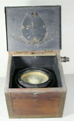 Vintage U.s. Navy Boat Compass Lionel Co. No 4014 In Wood And Brass Box