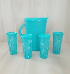 Tupperware Pitcher And Tumblers 10 Piece Set Pitcher And 4 Tumblers With Lid New