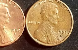 1982 D Lincoln Penny Error Small Date Struck On Wrong Planchet