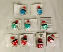 Magnet Resin Cupcake Fridge Magnets 3 Green 2 Blue 4 Red 2in X 1.5in