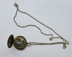 Antique Double Photo Locket 1912-wightman And Hough/wandh Co-engraved On 30 Chain