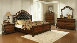 4 Pc Tufted Brown Leatherette Queen Bed Marble Ns Dresser Bedroom Furniture Set
