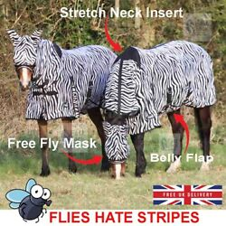 Zebra Print Horse Fly Rug | Combo Neck Cover | Belly Protection | Free Fly Mask