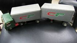 Vintage Metal Consolidated Freightways Friction Tractor Trailer And Pup