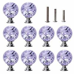 Longwin 10 Pack Crystal Cabinet Knobs Handles - 30mm Glass Ice Crackle Ball S...
