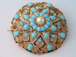 Stunning Large Victorian Solid 22 K Gold Enamel Turquoise And Pearl Pin Pendant