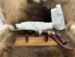 Randall Model 25-5 Trapper Knife With Stag Handles Leather Sheath / Pouch Mint