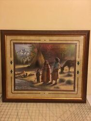 Vintage Native American Oil Paint Print With Sign