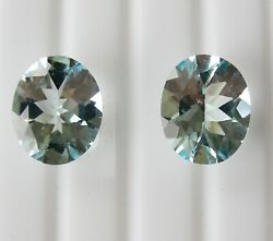 Aquamarines 8.85ct Matching Pair Expertly Faceted In Germany +cert Included