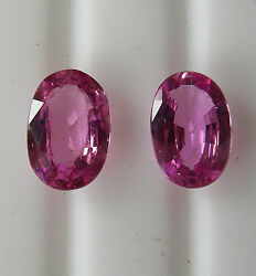 Pink 2.60ct Ceylon Natural Sapphires Matching Pair +certificates Included