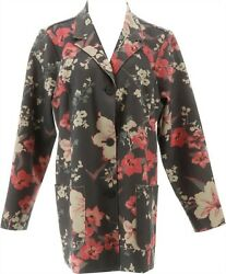 Denim And Co. Faux Suede Floral Print Jacket Charcoal Grey Xl New A342721