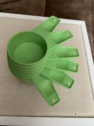 Vintage 6 Piece Lime Green Tupperware Measuring Cups 1970's Excellent Condition