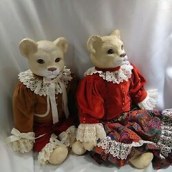 Betty Jane Carter Limited Edition Pair Of Musical Porcelain Cat Dolls Rare