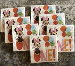 Lot Of 7 Minnie Mouse 1st Birthday Party Napkins 16 Ct 2-ply Disney Baby