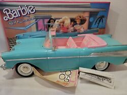 Vintage Barbie 57 Chevy Bel Air Convertible Car Mattel Turquoise And Pink 1988