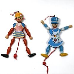Vintage Wooden Pull String Ornament Toys Arms And Legs Go Up And Down Sweden Denmark