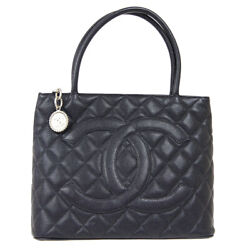 Medallion Quilted Cc Hand Tote Bag 6035668 Purse Black Caviar Skin 81333