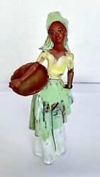 Red Clay Sculpture Graceful Woman Of Haiti With Bowl -vintage- A Rare Find