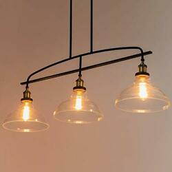 Vintage Rustic 3-light Kitchen Island Lighting With Clear Glass Shades 4