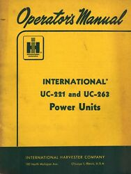 International Uc-221 Uc-263 Power Unit Operatorand039s Manual
