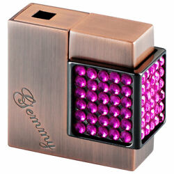 Windmill Gemmy Crystal Copper Polished And Rose Gas Lighter, Soft Flame