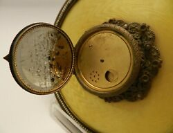 Needs Repair Large Vintage Guilloche Yellow Compact And Mirror Vanity Collectible