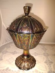 """Vtg Fenton Carnival Glass Compote Flower Daisy Footed Candy Dish Lid Pedestal 9"""""""