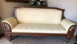 Carved Wood Frame Antique Single Cushion Sofa Circa Early 1900and039s