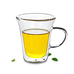 Lots Clear Heat Resistant Glass Mugs Double Wall Flared Tea Coffee Cups 265ml