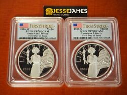 2016 W And S Proof Silver Liberty Medal Pcgs Pr70 Dcam Flag First Day Of Issue Fdi