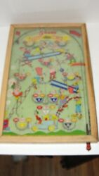 1932 Happi Time Poosh M Up Pinball Game Glass And Wood 18 X 11 X 1