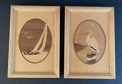 Marquetry Hudson River Inlay Sailboat And Pelicans Cove Wood Décor By Nelson
