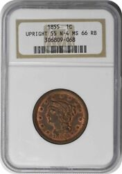 1855 Large Cent Upright 55 Ms66rb Ngc