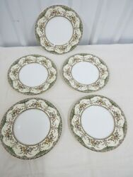 Vtg Set Of 5 Minton Chatham Green Ivory Dinner Plates - Discontinued