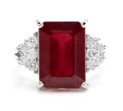 Igi Certified 4.15ct Natural Red Ruby Solid 14k White Gold Diamond Ring