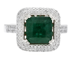 3.45 Ct Asscher Cut Natural Emerald Real Solid 14k White Gold Diamond Ring
