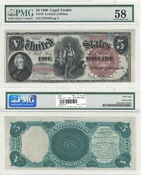 1880 5 Legal Tender Woodchopper Fr 70 Pmg Choice About Uncirculated-58