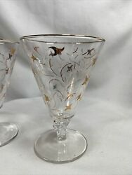 """Mcm Libbey Glass Royal Fern Drinking Glasses Stemware Gold Accents 5.5"""" Set Of 2"""