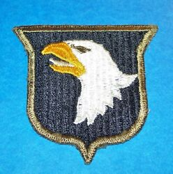 Original Early Ww2 101st Airborne Division Type 9 Od Border White Tongue Patch