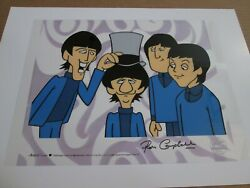 Ron Campbell Signed Beatles Sericel Cel Seal And Certificate Ringo's Top Hat