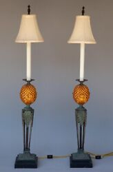 Pair 2 Of Maitland Smith Tall Pineapple Candlestick Banquet Buffet Table Lamps