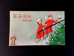 Vintage Unused Xmas Greeting Card Cute Couple In Pajamaand039s And Kitten With A Wish