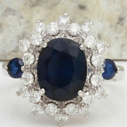 4.3ct Oval Cut Natural Sapphire Real Solid 14k White Gold Diamond Ring