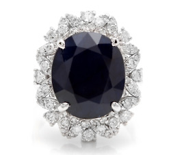 9.1ct Oval Cut Natural Sapphire Real Solid 14k White Gold Diamond Ring