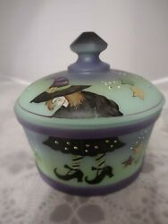 Fenton Glass Jade Green Halloween Witch Covered Candy Dish Ltd Ed M Kibble 2/6