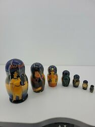 Set Of 7 Disney Pocahontas Hand Painted Wooden Russian Nesting Dolls