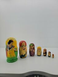 Set Of 7 Disney Hand Made Hand Painted Wooden Russian Nesting Dolls