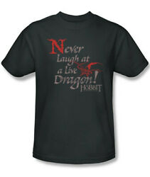 The Hobbit Never Laugh At A Live Dragon Quote T Shirt Lord of the Rings UNWORN