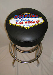 Welcome To Las Vegas Black Neon Sign Bar Stool Stools - New