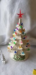 Ceramic Christmas Vintage Mold New Small White Tree Holly Base Made In Usa